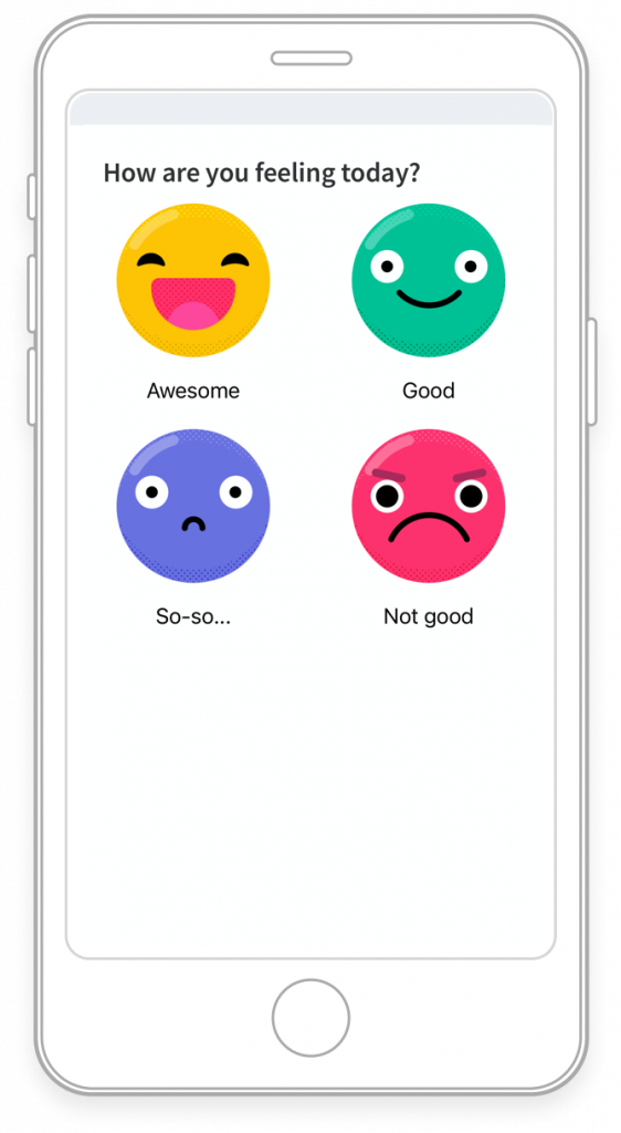 app screen with four smily faces to choose your mood